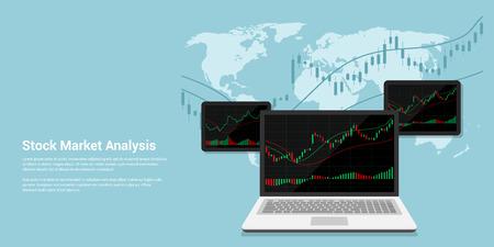 comercio: ilustración Banner de estilo FLACT de análisis de mercado de valores, el concepto de comercio de divisas en línea Vectores