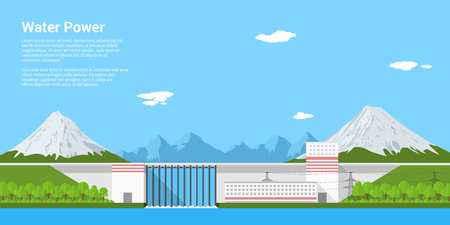 hydroelectricity: picture of water power plant in front of mountains, flat style banner concept of renewable energy and ecological power generation Illustration