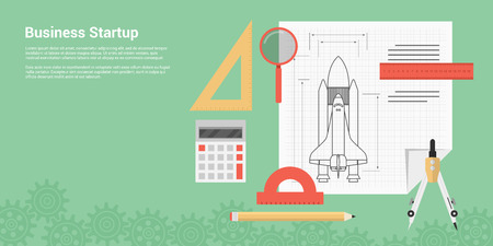 flat style banner concept of new business startup, new product or service launch, picture of rocket ship sketch with rulers, caliper, pen, magnifying glass and calculator
