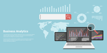 information analysis: flat style concept banner of business analytics, analytical information search, market analysis, marketing and promotion