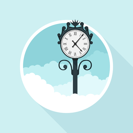 dial: picture of street clock, flat style illustration