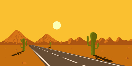 desert sun: picture of desert road, cacti, mountains and setting sun, flat style illustration