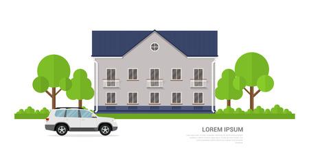 image d'une maison de privat et une voiture en face de lui, bannière concept de style plat