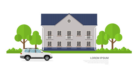 car garden: picture of a privat house and a car in front of it, flat style banner concept Illustration
