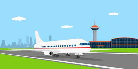 着陸帯、空港、フラット スタイルの図の前に民間機の画像