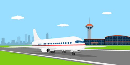 picture of a civilian plane on landing strip, in front of airport, flat style illustration Vectores