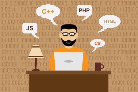 geek: imagen de un programador que trabaja, el concepto de desarrollo de software, estilo plano ilustraci�n