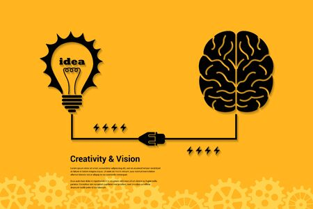 brain storming: flat style banner concept of creativity and vision, human intelligence, new idea, brain storming Illustration