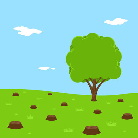 stumps: picture of stumps from felled trees, flat style illustration