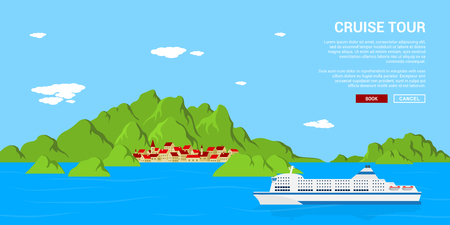 picture of a cruise liner drifting near small village, flat style concept bannet, traveling, holidays, vacation concept