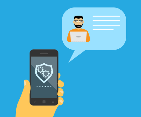 spech bubble: picture of a human hand holding mobile phone and a spech bubble with call center specialist near it, flat style illustration