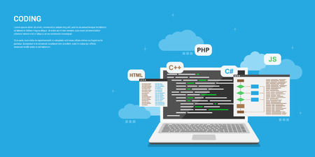 flat style banner design, coding, programming, application development concept Vectores