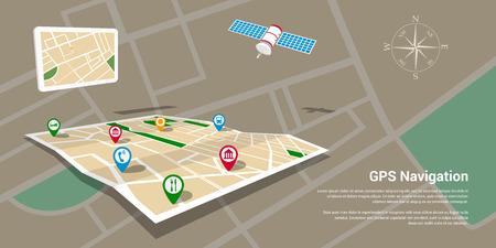 navigazione: design di stile piatto di modello di banner web per il sito web o infografica, sistema di navigazione GPS mobile, posizione di destinazione, individuare e trovare la strada giusta.