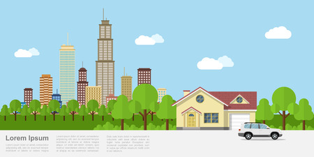 Picture of a private house with big city on background, flat style banner design  イラスト・ベクター素材