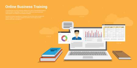educativo: Diseño de la bandera de estilo plano de la formación empresarial en línea, seminario, el concepto de educación en línea