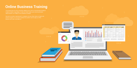 flat style banner design of online business training, webinar, online education concept