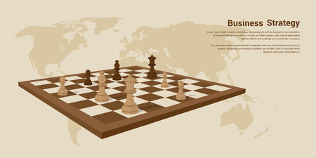 picture of chessboard with chess figures on it, flat style banner desing of business strategy concept