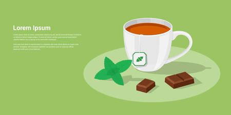 tazza di th�: immagine di una tazza di t� con pezzi di cioccolato e foglie di menta, piatta illustrazione stile