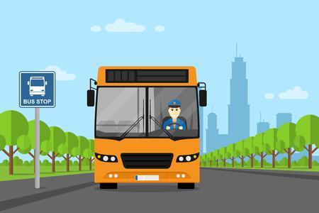 chofer de autobus: foto de un autobús con Seguro que el conductor dentro, de pie en la parada de autobús, estilo plano ilustración