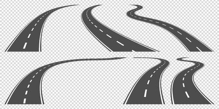 carretera: conjunto de carreteras sinuosas, ollustration vectorial