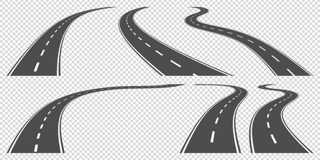 road line: set of winding roads, vector ollustration