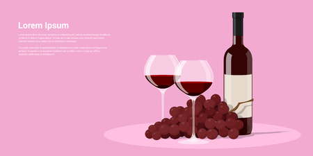 picture of wine bottle, two wine glasses and grapes, flat style illustration