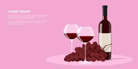 photo de la bouteille de vin, deux verres de vin et les raisins, plat illustration de style