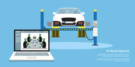 Cuadro de un coche con sensores de alineación de ruedas. Fondo del estilo plana para el servicio de alineación de ruedas Ilustración de vector