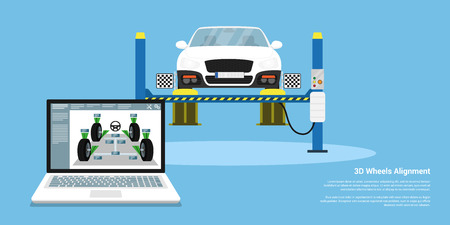 Picture of a car with alignment sensors on wheels. Flat style background for wheels alignment service Illustration