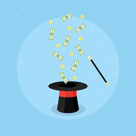 show bill: Imagen de un sombrero mágico y monedas y billetes para volar por encima de ella, la ilustración de estilo plano Vectores