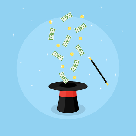 flying hat: Picture of a magic hat and flying coins and banknotes above it, flat style illustration Illustration