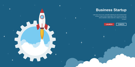 Picture of rocket flying above clouds, business startup banner concept, flat style illustration