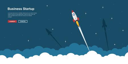 Obraz latania rakietowych powyżej chmur, biznesu startowego bannera pojęcie, stylem ilustracji płaskim