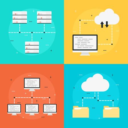 icono ordenador: La computación en nube, la transferencia de datos, almacenamiento de datos, red de ordenadores. Set o iconos de estilo planas