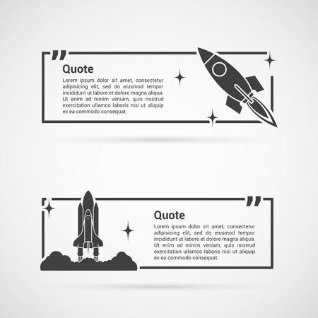 dialogo: Conjunto de plantillas en blanco de la cita con el cohete espacial y el transbordador espacial. Cita comentar plantilla. Cita de burbujas. Vectores