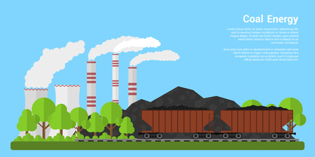 coal: Picture of freight carriages filled with coal with coal hills and coal-fired power plant on background, flat style banner, coal industre, coal energy concept