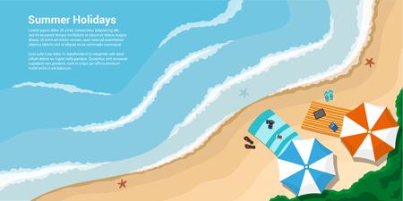 Bild von einem Meer mit Handtücher, Regenschirme, Schiefern, Flat-Banner für Urlaub, Reisen, Sommerferien Konzept