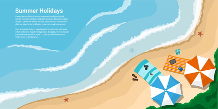 picture of a sea shore with towels, umbrellas, slates, flat style banner for vacation, travel, summer holidays concept