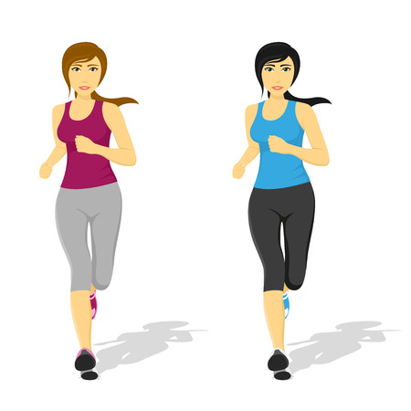 woman running: picture of young pretty running woman, healthcare and fitness concept