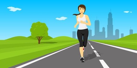 big woman: Picture of young pretty woman running on the road with big city silhouette on background, fitness, sport and healthcare concept