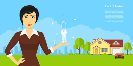 picture of smiling woman holding keys on her hand, with house building on background, real estate advertisement banner Stock Illustratie