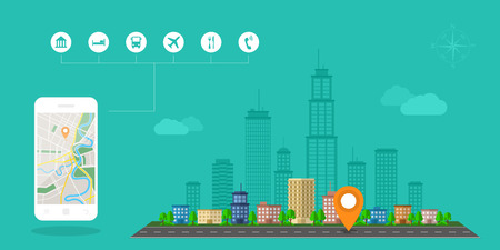 right of way: Flat style design of web banner template for website or infographics, mobile navigation GPS system, destination location, spotting and find the right way.