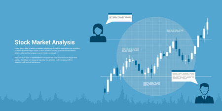 picture of candlestick graph with icons of people, flat style banner, stock market analysis, forex trading, business analytics, investmen concept