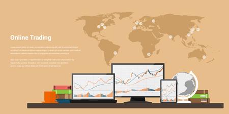 株式取引の概念、obline の取引、株式市場分析、ビジネス、投資、外国為替取引のフラット スタイル web バナー