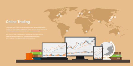 stock trading: flat style web banner on stock trading concept, obline trading, stock market analysis, business and investment, forex exchange