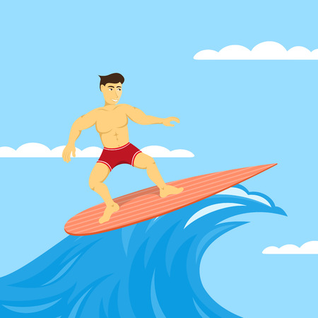 leisure activity: picture of man on surfboard, surfing in the sea, leisure activity concept, flat style illustration Illustration