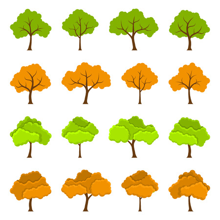 foliage  natural: Set of colour trees, icons set, flat style illustration