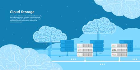 remote backup service: flat style banner, cloud storage, cloud server concept