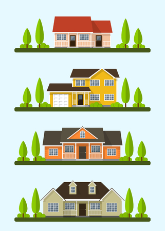 cottage: Set of detailed colorful cottage houses. Flat style modern buildings.