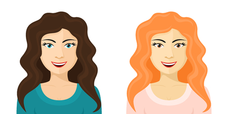 pretty eyes: picture of cute cartoon girl with various hair and eyes color, flat style illustration Illustration